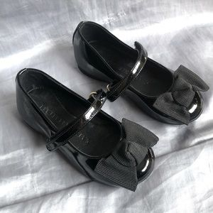 BURBERRY GIRLS SIZE 8 SHOES BLACK VELCRO FLATS BOW